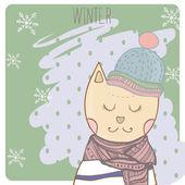 Winter kat in kleren scharf en hoed. Hand getekende illustratie — Stockvector