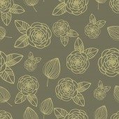 Seamless pattern rose and leaf hand drawn — ストックベクタ