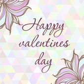 Hand drawn illustration with ornament greeting card happy valentine day with triangles backdrop. Graphic colorful pastel color flowers frame. — Stock Vector