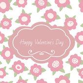 Grußkarte Happy Valentines Day. Ausschreibung mit Text und Blumen floral. Rosa Pastell handgezeichnete Vektor-illustration. — Stockvektor