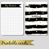 Printable cards for notes, design notebook black and gold color, brush stroke hand drawn — Stock Vector