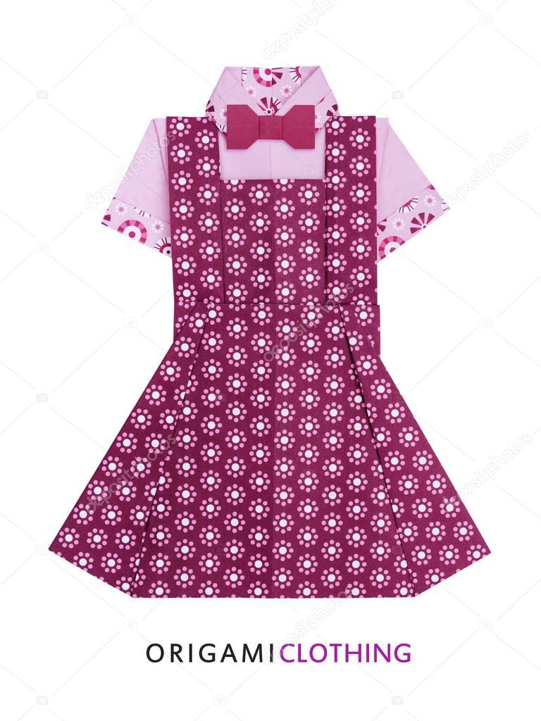 Оригами девочка в платье