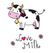 Cow. i love milk — Stock Vector