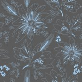 Seamless dark grey pattern with flowers lily — Stockvektor