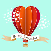 Valentines day air balloon vector illustration — Stock Vector