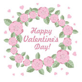 Valentines day flower ring vector illustration — Stock Vector