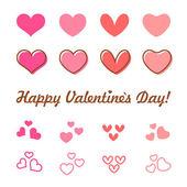 Valentines Day heart vector icon set — Διανυσματικό Αρχείο