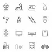 Set of home appliances and electronics icons — Stock Vector
