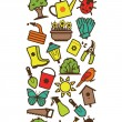 Seamless pattern of garden tools and accessories — Stock Vector #68523503
