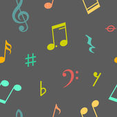 Vector seamless pattern of music notes and icons — Stock Vector
