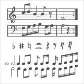 Music notes and icons vector set — Stock Vector