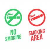 No smoking and Smoking area signs — Stock Vector