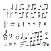 Music notes and icons vector set — Stockvektor