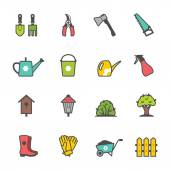 Vector icon set of garden tools and accessories — Stock Vector