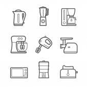 Kitchen appliances vector line style icon set — Stock Vector