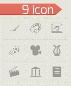Vector black art icons set — Stock Vector