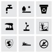 Vector black eco icons set — Stock Vector