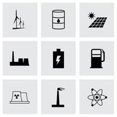 Vector black energetics icons set — Stock Vector