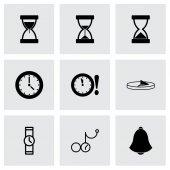 Vector zwarte tijd pictogrammen instellen — Stockvector