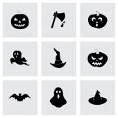 Vector black halloween icons set — Stock Vector