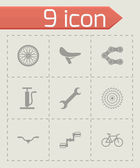 Vector black bicycle icons set — Stock Vector