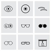 Vector zwarte optometrie icons set — Stockvector