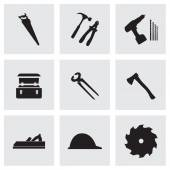 Vector black carpentry icons set — Stock Vector