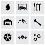 Vector black car service icons set — Stock Vector