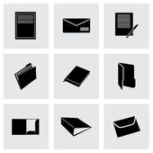 Vector black document icons set — Stock Vector