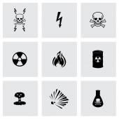 Vector black danger icons set — Stock Vector