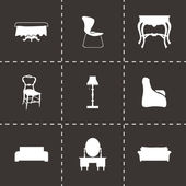 Vector black furniture icons set — Stock Vector