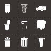 Vector zwarte vuilnis icons set — Stockvector