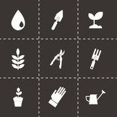 Vector black gardening icons set — Stock Vector