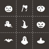 Conjunto de ícones de halloween vector preto — Vetor de Stock