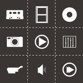 Vector black media icons set — Stock Vector