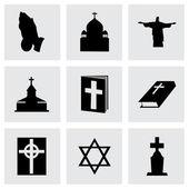 Vector black religion icons set — Stock Vector