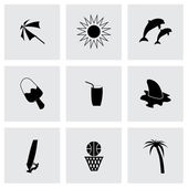 Vector black summer icons set — Stock Vector