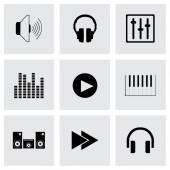 Sistema de sonido iconos vector negro — Vector de stock