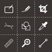 Vector black graphic design icons set — Stock Vector