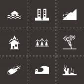 Vector black disaster icons set — Stock Vector