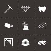Vector black mining icons set — Stock Vector