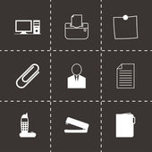 Vector black office icons set — Stock Vector