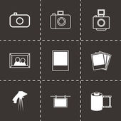 Vector black photo icons set — Stock Vector