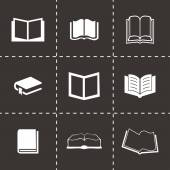 Vector black book icons set — Stock Vector