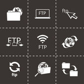 Vector black FTP  icons set — Stock Vector