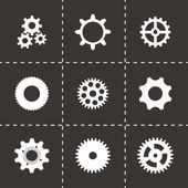 Vector black gear  icons set — Vector de stock