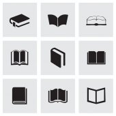 Vector black schoolbook icons set — Stock Vector