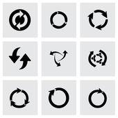 Vector black refresh icons set — Stock Vector