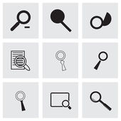 Vector black magnufying glass icons set — Stock Vector