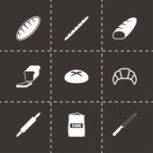 Vector black bakery icon set — Stock vektor